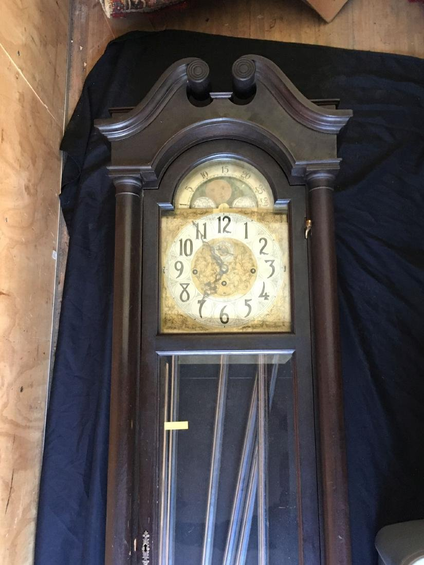 BLACK FOREST TALL CASE CLOCK WITH MOON DIAL FACE - 5