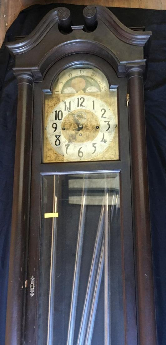 BLACK FOREST TALL CASE CLOCK WITH MOON DIAL FACE - 7