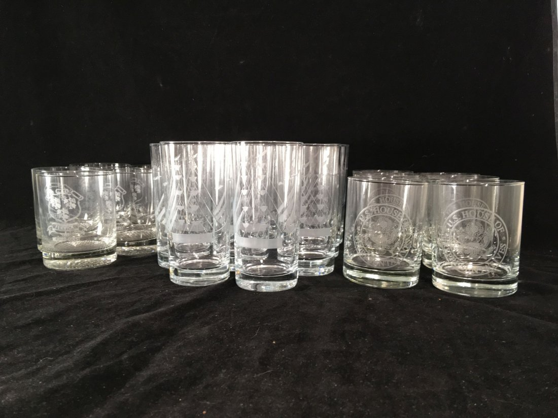 ETCHED CRYSTAL ROCKS GLASSES AND TUMBLERS FROM THE