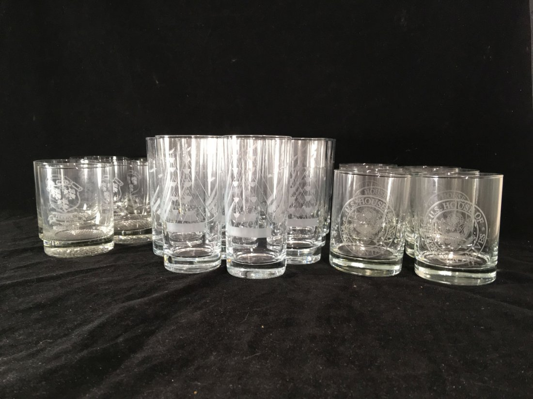 ETCHED CRYSTAL ROCKS GLASSES AND TUMBLERS FROM THE - 2