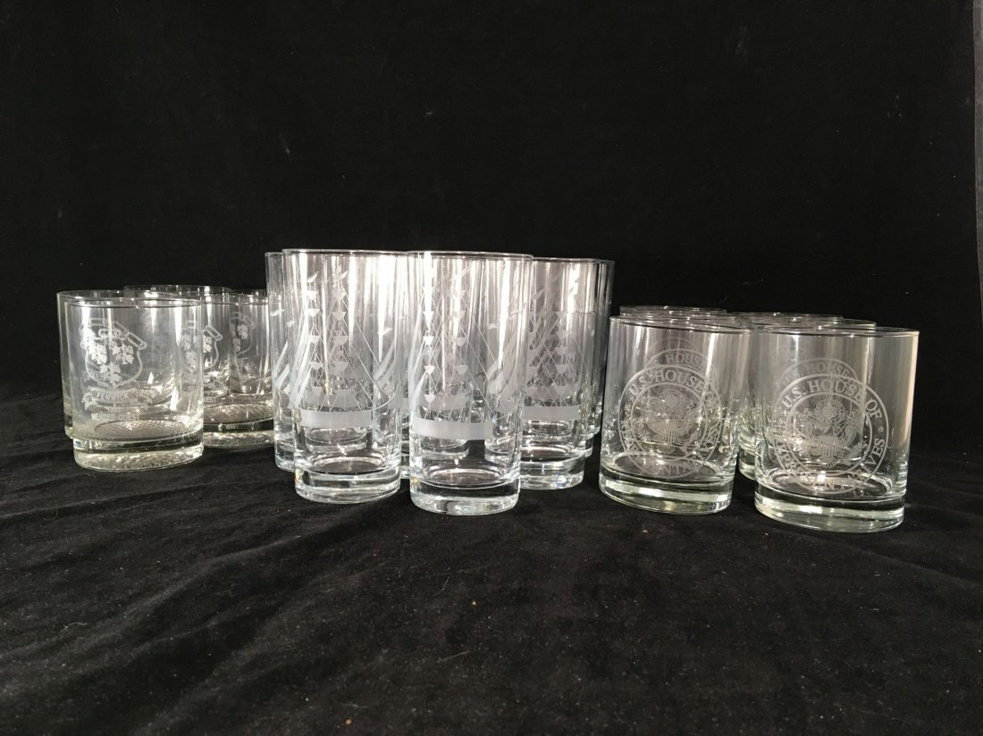 ETCHED CRYSTAL ROCKS GLASSES AND TUMBLERS FROM THE - 3