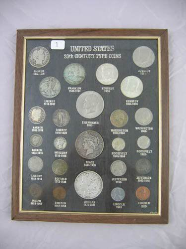95101: Framed coin grouping