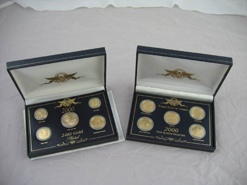 95111: 24kt gold plated coin sets (2)