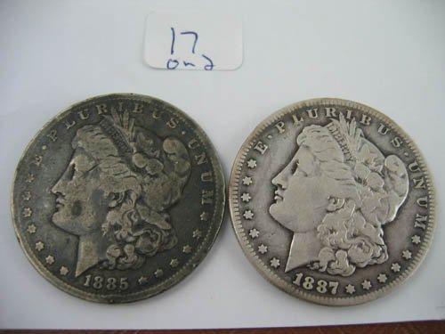 95117: 1887 and 1885 morgan dollars