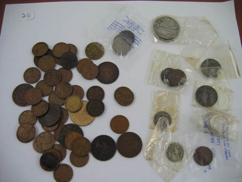 95120: Lot of Wheat Pennys, foreign coinage with silver