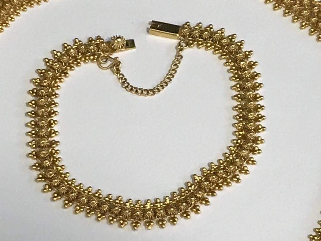 14K GOLD NECKLACE AND EARRING SET. 62 GRAMS - 3