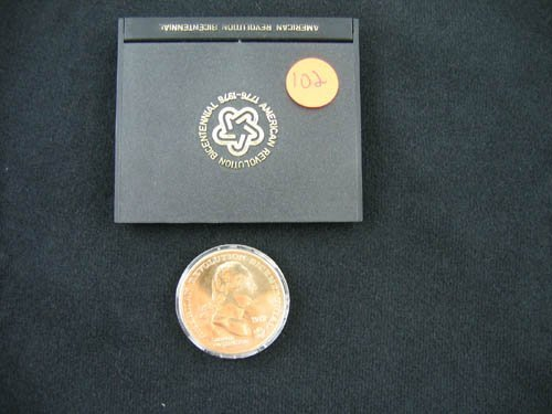 919102: 1972 AMERICAN REVOLUTION BICENTENNIAL GOLD COIN
