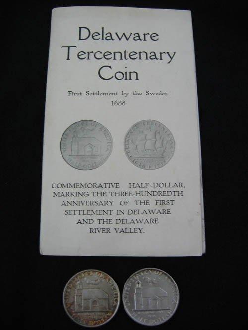 919122: 2 DELAWARE 1938 COMMEMORATIVE 1/2 DOLLARS IN HO