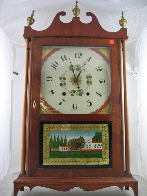 929236: EPHRAM DOWNS PILLAR AND SCROLL CLOCK