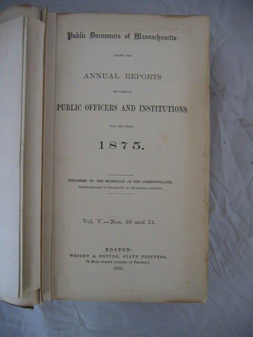 117108: PUBLIC DOCUMENTS OF MASSACHUSETTS-1875 VOLUME V