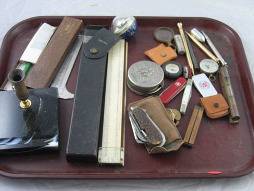 117217: ASSORTED SMALLS-RULES, KNIVES, COMPASSES,LOCKS,