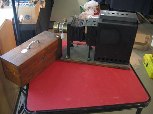 19255:  LARGE GLASS SLIDE PROJECTOR, A.T. THOMPSON CO.,