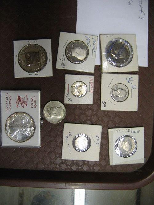 101A: 9 AMERICAN COINS, KENNEDY HALVES, 87' DOUBLE EAG