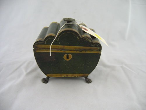 210002: 19TH C. PAINTED TOLEWARE TEA CADDY, DIVIDED INT