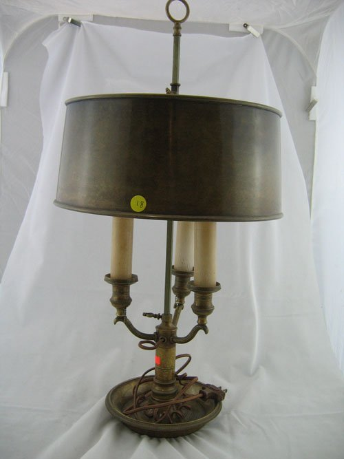 210018: 3 BRANCH BRONZE ADJUSTABLE TABLE LAMP WITH BRON