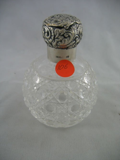 227106: STERLING SILVER REPPOUSSE GLASS COLOGNE BOTTLE