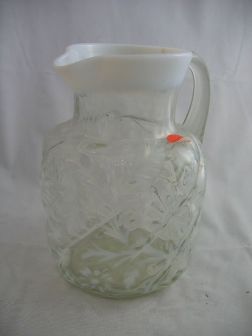 """227108: VICTORIAN CASED AND PATTERNED 8"""" GLASS PITCHER"""