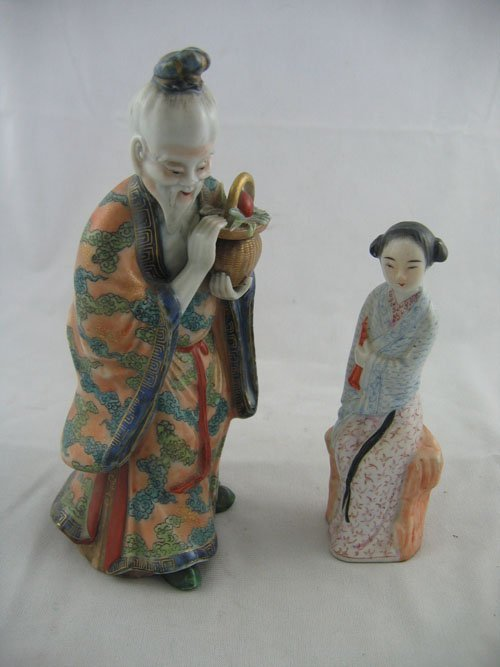 """227114: PAIR OF CHINESE POTTERY FIGURES 9"""" AND 6"""""""
