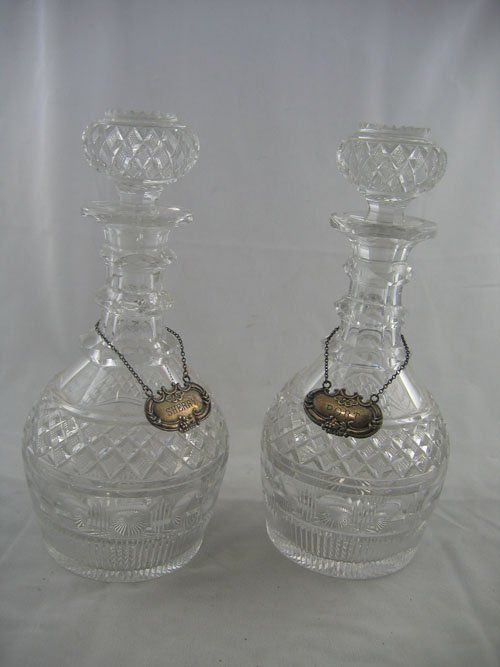 227120: PAIR OF CUT CRYSTAL DECANTERS STERLING LABELS