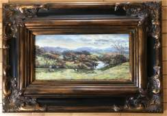 JAMES M HART  LANSCAPE WITH COWS  PAINTING ON BOARD