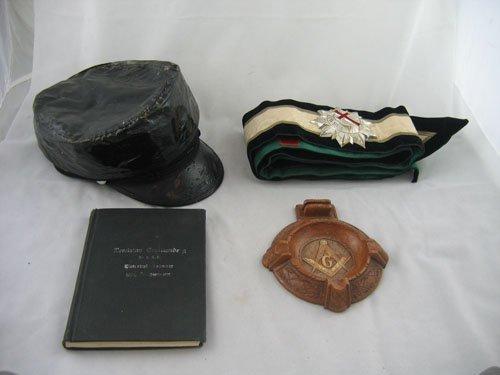 416117: 4 MASONIC ITEMS, HAT, ASHTRAY, SASH &  BOOK