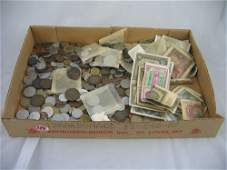 416139: LARGE GROUPING OF FOREIGN COINS AND PAPER MONEY