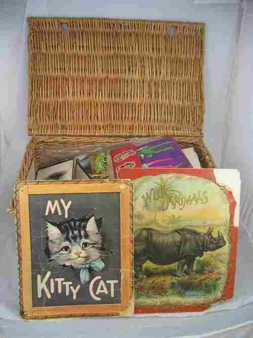 507258:  WICKER CASE, CHILDREN'S BOOKS, PHOTOS, MAPS, B
