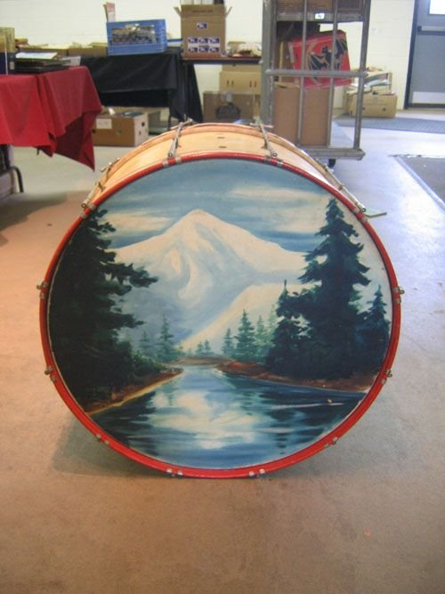 507128A: OLD BASE DRUM WITH PAINTING, GREENFIELD MA