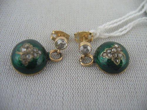 611107:  18KT GOLD & DIAMOND & ENAMEL EARRINGS
