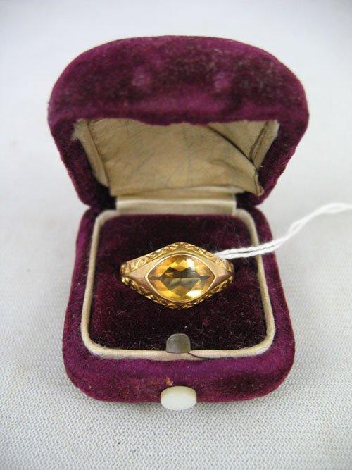 611112:  VINTAGE 10KT GOLD RING CITRINE  C. 1900