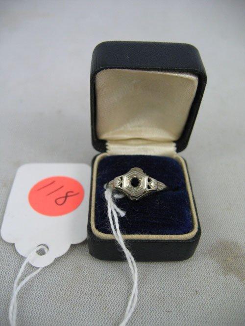 611118: VINTAGE PLATINUM DECO RING SETTING