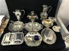LARGE LOT OF VICTORIAN SILVERPLATE SERVING PIECES
