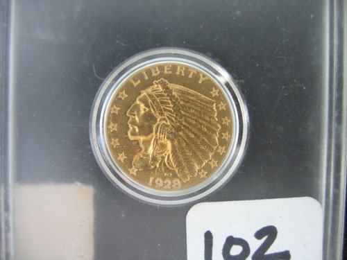 618102: 1928 GOLD INDIAN HEAD US COIN, $2.50, ESTATE QU