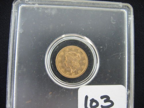 618103: 1852 LIBERTY HEAD $1 GOLD COIN, ESTATE COIN HAS