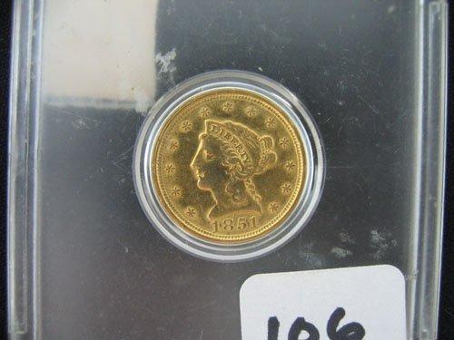 618106: 1851 LIBERTY US 2 1/2 DOLLAR GOLD COIN, ESTATE