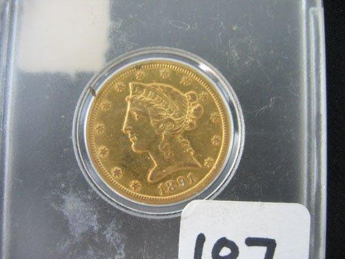 618107: 1891 CARSON CITY LIBERTY $5 US GOLD COIN, ESTAT