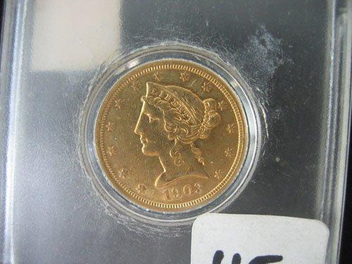 """618115: 1903 """"S"""" LIBERTY US $5 GOLD COIN, ESTATE COIN H"""