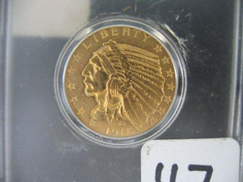 618117: 1911 INDIAN HEAD US $5 GOLD COIN, ESTATE COIN H