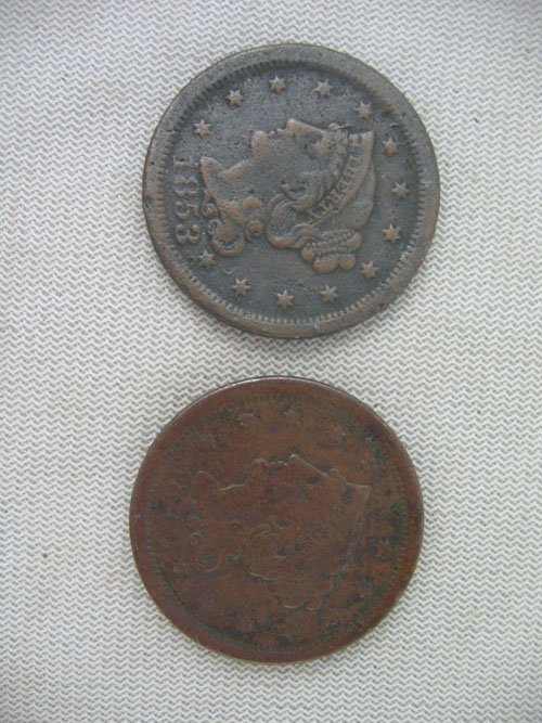 618122: 2 LARGE CENTS, 1849 AND 1853