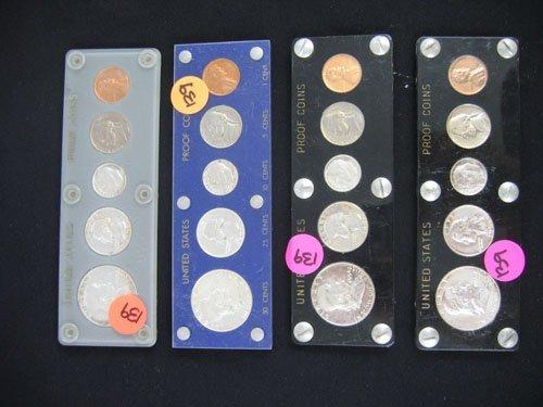 618139: 4 US MINT PROOF SETS, 1952, 1953, 1954, 1955