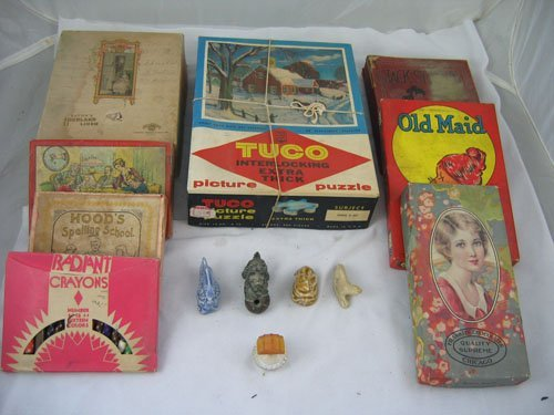910114: BOX OF TURN OF THE CENTURY GAMES AND PUZZLES, I