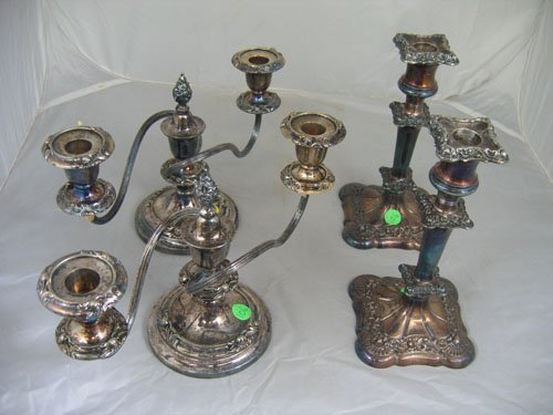 920106: PAIR OF 2 ARMED SHEFFIELD CANDELABRAS AND PAIR
