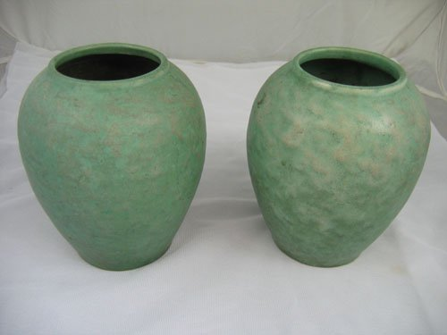 920118: PAIR OF MODELED GREEN ARTS AND CRAFTS VASES, UN