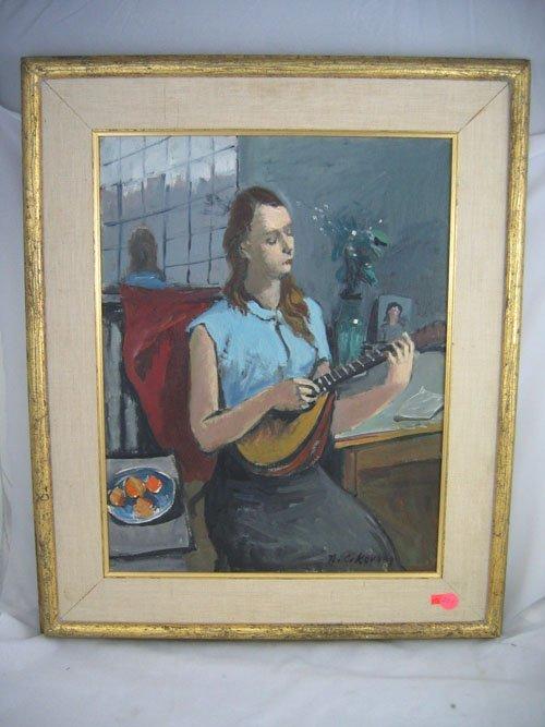 920201: CIKOVSKY PAINTING OF A WOMAN W/ A MANDOLIN