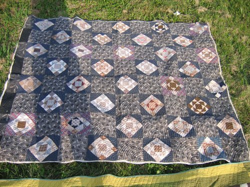 """1008112:  2 ANTIQUE QUILTS """"ROLLING SQUARE"""" & OVERDYED"""