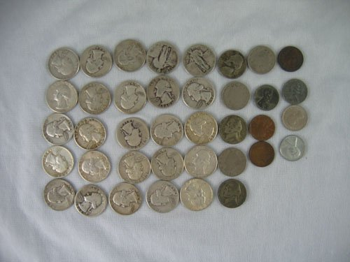 1203112: 25 SILVER QUARTERS, 6 NICKELS, 3 STEEL PENNIES