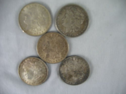 1203114: 5 MORGAN DOLLARS, 3 1921, 1879, AND 1881