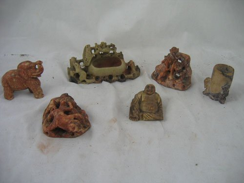 1217107: 6 ANTIQUE CARVED CHINESE STONEWARE FIGURES