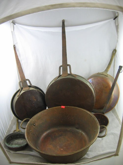 1217110: 5 VINTAGE COPPER AND BRASS COOKING POTS