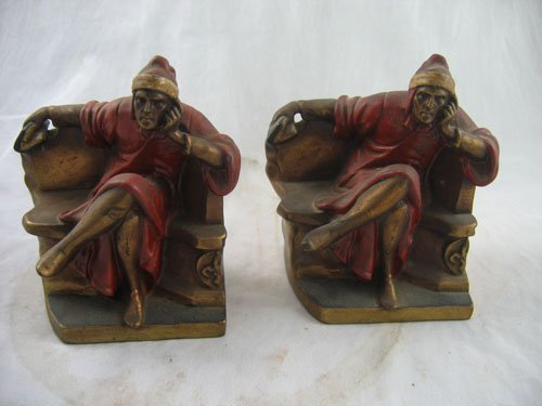 1217119: ANTIQUE COLD PAINTED BRONZE BOOKENDS